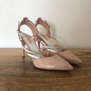 Topshop Strappy Pink Pointed Toe Heels Size 8.5